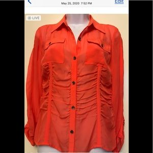 DKNY, size 8 red ,100%silk blouse , down button